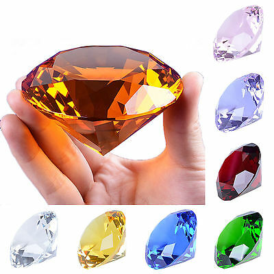"""LONGWIN 80mm Crystal Diamond Paperweight Solid Color Wedding Gifts 3.15"""" W"""