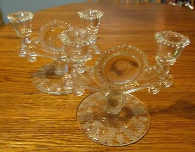 Vtg Duncan & Miller FIRST LOVE Etched Double Crystal Glass CANDLE HOLDERS