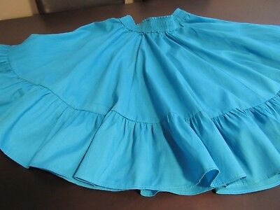 Vintage Ladies Pete Bettina Dark Teal Square Dance Skirt w Ruffles Size Medium