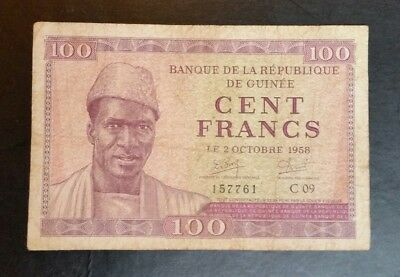 Guinea 1958 100 Francs Banknote (P-7) Scarce note high value