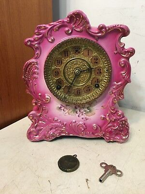 Antique Gilbert Porcelain Mantle Mantle Clock Royal Bonn Style Beautiful Magenta