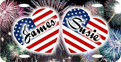 Personalized Custom Patriotic Hearts Fireworks Background License Plate 2 Names