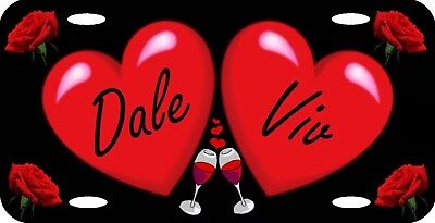 Personalized Custom Red Hearts Roses Wine Glasses Love License Plate Any 2 Names