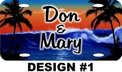 Personalized Custom Tropical Ocean Sunset Palm Tree License Plate 8 Designs NEW