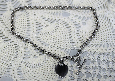"""Sterling Silver Italy 925 Rolo Chain Blank Heart Tag Toggle Clasp 18"""" Necklace"""