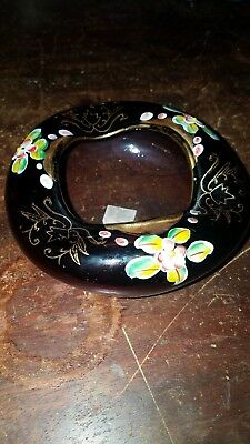 Arnart Hand Blown Purple Glass Ashtray With Hand Painted Decoration