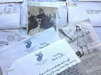 Marine CORPS LAST LOTS! 17+ WW2 Letters Cards USMC US Mail Camp Lejeune NC WWII