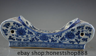 "11.6"" Rare Old Chinese Blue White Porcelain Dynasty Palace Dragon Flower Pillow"