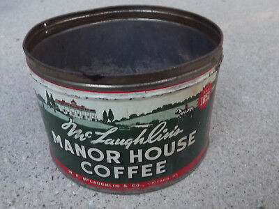 Vintage McLaughin's Manor House 1Lb Coffee Can-No Lid