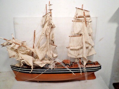 Large Wooden Sailing Vintage Model Ship For Restoration