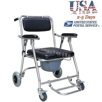 Mobile Commode Chair with 4 brakes, Wheels & Footrests Wheelchair Toilet US SHIP