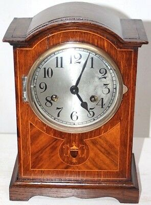 Antique German Arch Top Mantel Clock W/ Ornately Inlaid Mahogany Case. *signed*