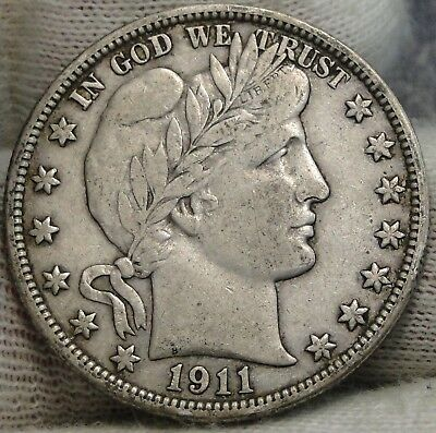 1911D Barber Half Dollar 50 Cents - Key Date 695,080 Minted, Nice Coin  (7523)