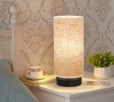 ZEEFO Simple Table Lamp Bedside Desk Lamp With Fabric Shade and Solid Wood