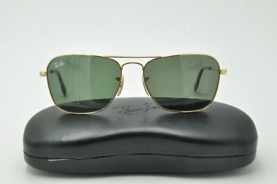 5c31bf0a90 RAY BAN RB 3136 CARAVAN Sunglasses Gold Frames   Green Lenses 55mm ...