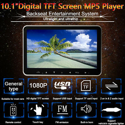"10.1"" External Headrest Car Full HD Monitors AV-in FM Hi-Fi Stereo MP5 Player"