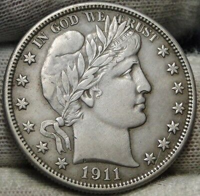 1911D Barber Half Dollar 50 Cents, Key Date 695,080 Minted, Nice Coin (7044)