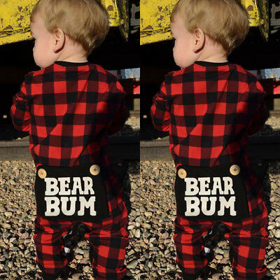 US Stock Christmas Toddler Baby Boys Girls Plaids Romper Jumpsuit Outfit Clothes