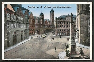 Frankfurt am Main Rathaus mit Einheitsdenkmal 1914 in COLOR COLLOTYPE UNUSED