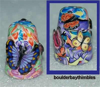 BOULDER BAY FIMO THIMBLE - FLORAL with BUTTERFLIES AFFIXED NEW
