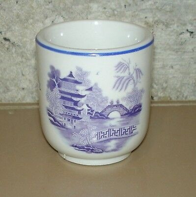 Hard To Find HALL China BLUE WILLOW Unusual Small Footed Toothpick Holder