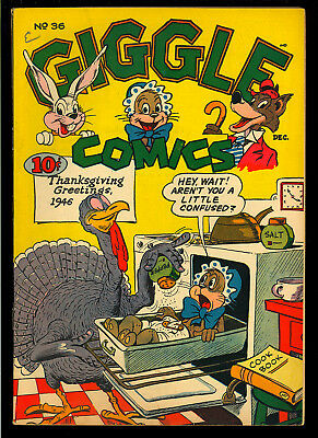 Giggle Comics #36 Very Nice Thanksgiving Cover Golden Age ACG 1946 FN-VF