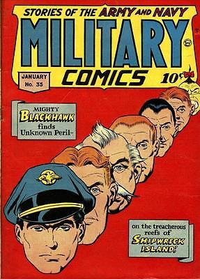 Military Comics #35 Photocopy Comic Book, Blackhawk, Choo Choo and Cherry