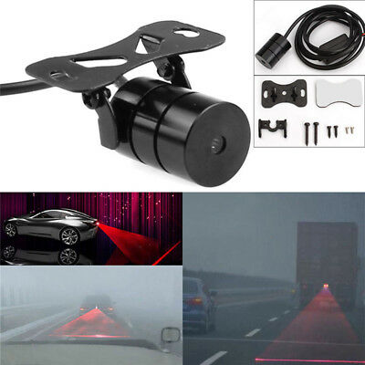 Universal Red Car Laser LED Fog Light Rear Anti Collision Signal Warning Lamp J&