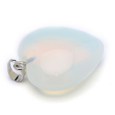 Love Heart Holiday Rainbow Fire Moonstone Gemstone Silver Necklace Pendants 30MM