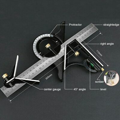 "12""Combination Measuring Angle Tool Rule Tri Square Ruler Steel Machinist 30cm"
