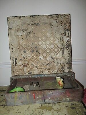 vintage ANTIQUE VICTORIAN architectural ORNATE salvage TIN rusty chippy TILE