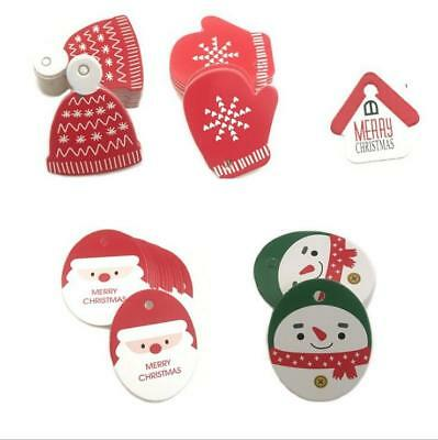 50X Christmas series Message card Christmas tree decoration tag Party Gift Cards