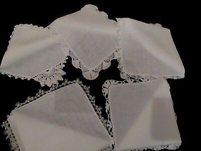 5 Vintage White Wedding Tatted & crochet lace linen hankies,