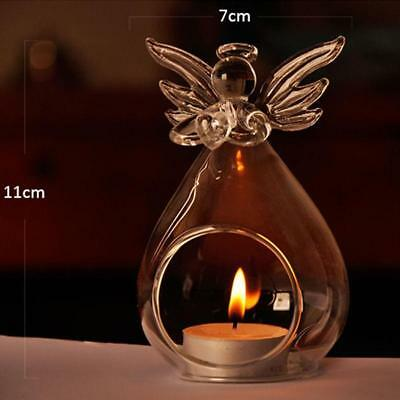New Romantic Angel Crystal Glass Candle Holder Hanging Tea Light Lantern Cand...