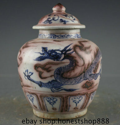 "7.2"" Old Chinese Red Blue White Porcelain Dynasty Palace Dragon Lid Tank Jar"