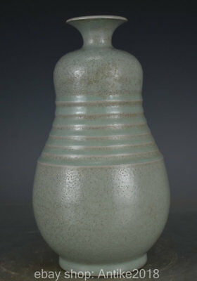 "9.6"" Old Chinese Ru Kilin Green Glazed Porcelain Song Dynasty Palace Bottle Vase"