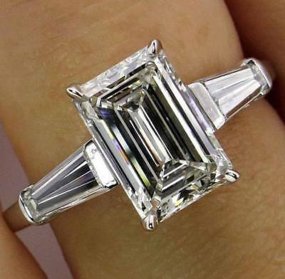Engagement & Wedding Ring In 14K White Gold Certified 5.50Ct Emerald Cut Diamond