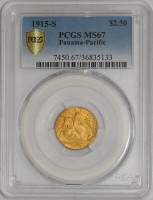 1915-S $2 1/2 Gold Panama Pacific #938948-11 MS67 Secure Plus PCGS