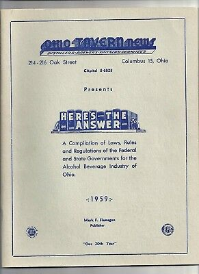 1959 OHIO TAVERN NEWS, Laws, Rules for Alcohol Beverage Industry. Price Lists.