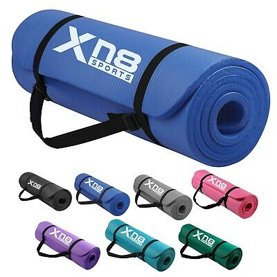 XN8 15mm Thick Yoga Mat Pilates Gymnastic Gym Exercise Carry Strap NonSlip Large