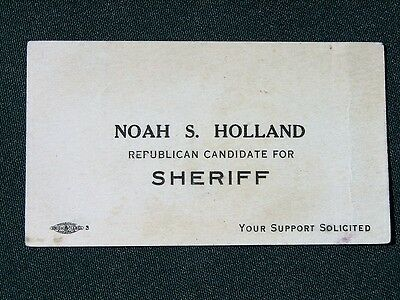 Bartlesville Oklahoma Noah S Holland Republican for Sheriff 1910s campaign card