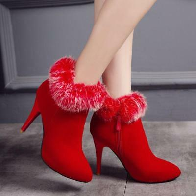 Women Grace Fur Trim High Heel Side Zip Pointy Toe Sexy Party Ankle Boots Shoes