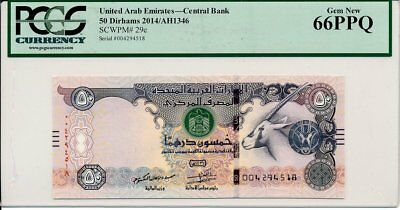 Central Bank United Arab Emirates  50 Dirhams 2014  PCGS  66PPQ