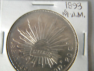 1 mexican coin 8 reales 1893 A.M mexico city .903 silver