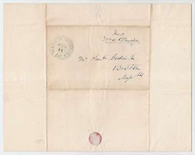 A2745: William C. Dawson 1840 SIGNED FREE FRANKED COVER + LETTER