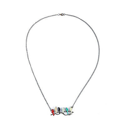 Colorful Birds On A Branch Pendant Necklace Long Chain Statement Bib Jewelry Z