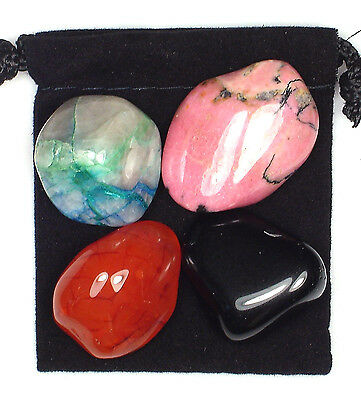 ARTHRITIS RELIEF Tumbled Crystal Healing Set = 4 Stones + Pouch + Card
