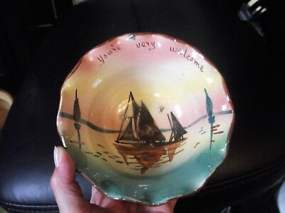 Vintage Devon Torquay Pottery Ware Fluted Sugar Bowl Sailing Boat You're Welcome