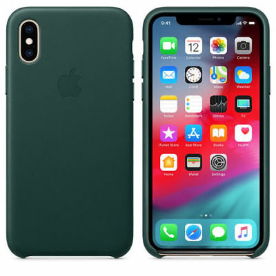 100% Original Genuine Apple Leather iPhone XS Max 6,5 Case Cover Forest Green