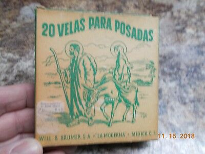 """Vintage Box 20 Colored Christmas Candles, 4"""", 3/8"""" Diameter, Mexico"""